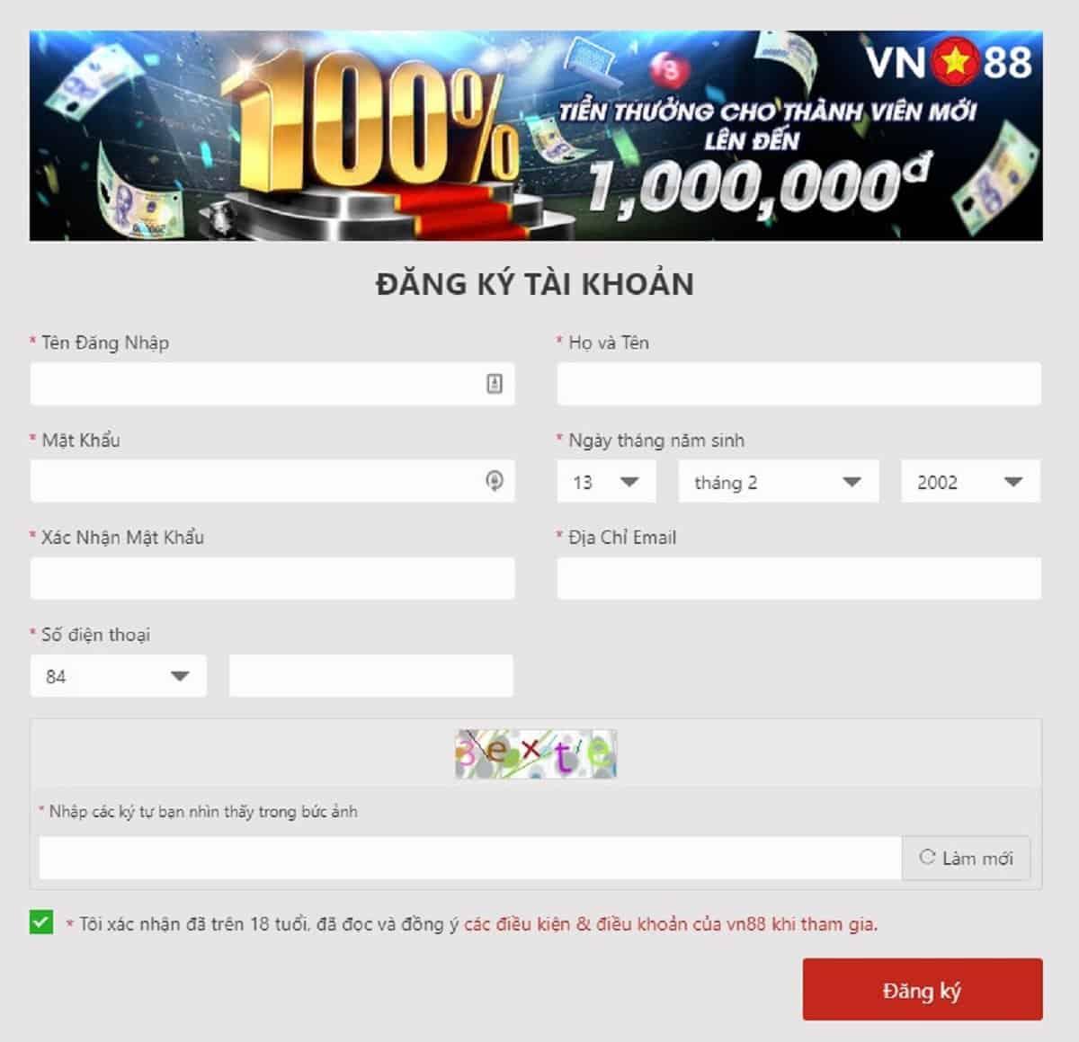 Hướng dẫn đăng ký tài khoản vn88 bằng ứng dụng vn88 app